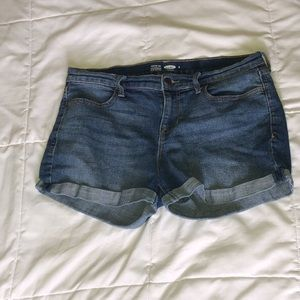 Blue Semi Fitted Jean Shorts